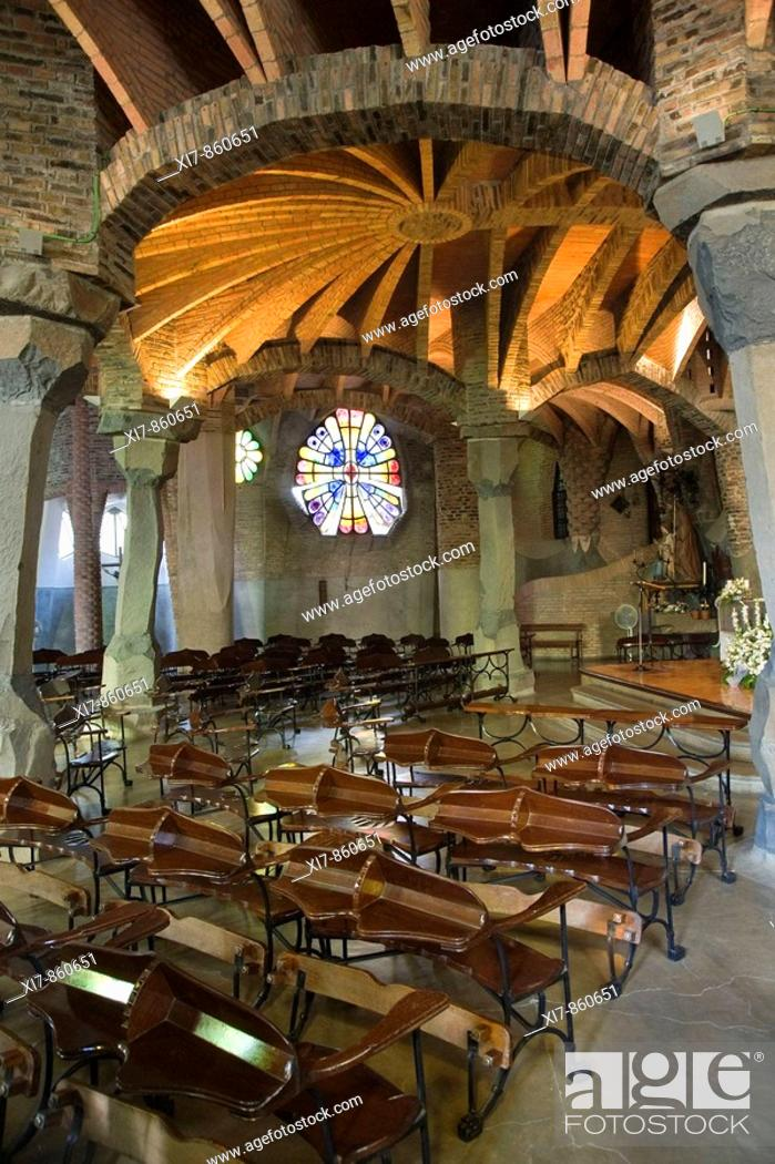 Unfinished Church Of Colonia Guell Crypt Interior Antonio Gaudi