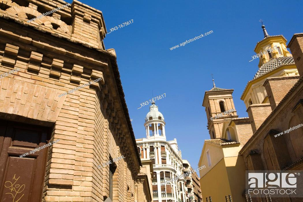 Stock Photo: At right Covent Church of Santo Domingo, on background Casa Cerdá, City of Murcia, Murcia Region, Spain, Europe.