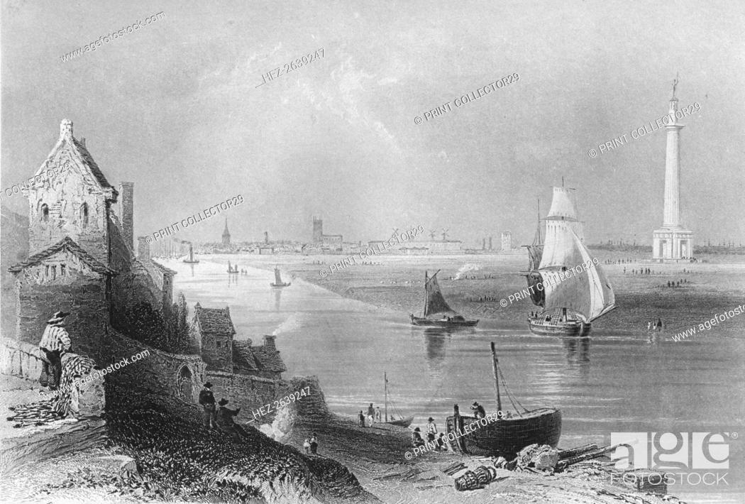 Stock Photo: 'Yarmouth, with Nelson's Monument', 1859. Artist: H Griffiths.