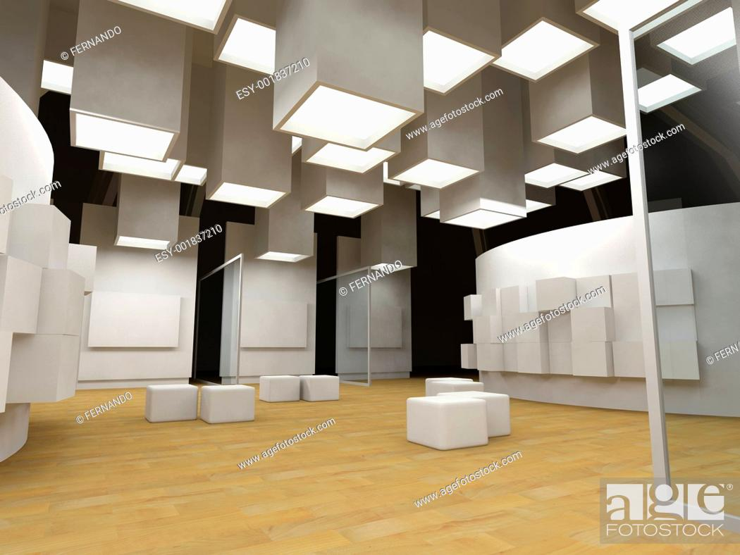 Imagen: Art gallery with blank frames, modern building, conceptual archi.