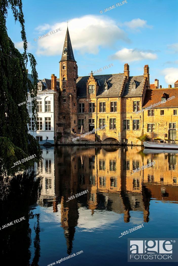 Stock Photo: Rozenhoedkaai. Bruges, West Flanders, Belgium.