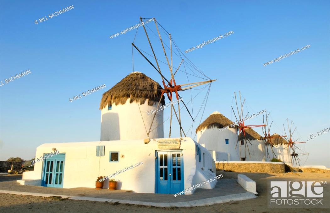 Stock Photo: Mikonos Greece famous five old 14th Century Windmills of white at sunrise.