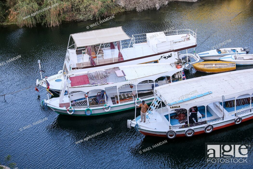 Stock Photo: Boats on Nile, Nubia, Egypt.