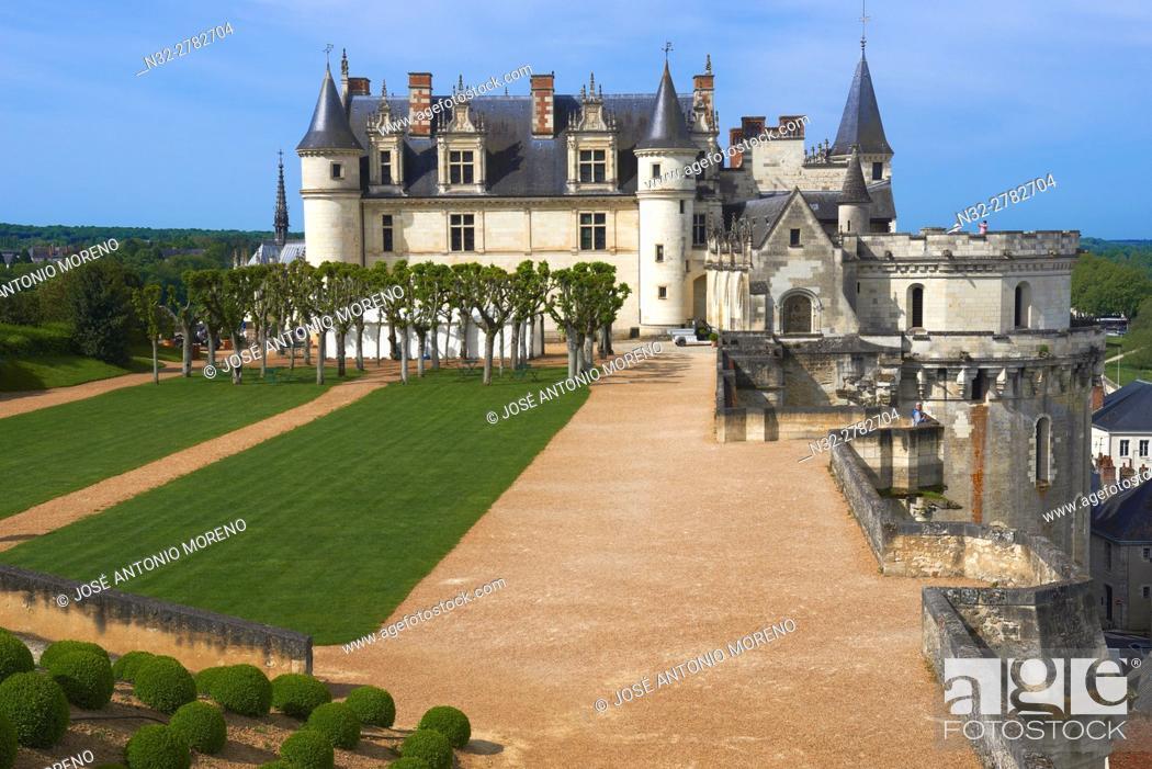 Stock Photo: Amboise, Castle, Gardens, Chateau d'Amboise, Amboise Castle. Indre-et- Loire, Loire Valley, Loire River, UNESCO World Heritage Site, France.