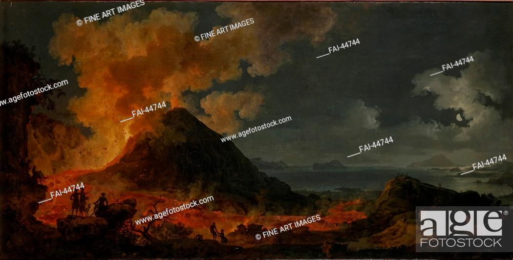 Stock Photo: The eruption of Vesuvius by Volaire, Pierre Jacques (1729-1802)/Oil on canvas/French Painting of 18th cen./1771/France/State Hermitage, St.