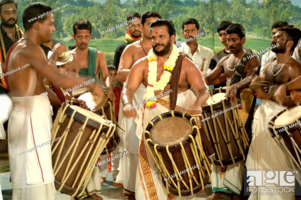 Men Playing Musical Instrument Drums Ayyappa Pooja Celebrations