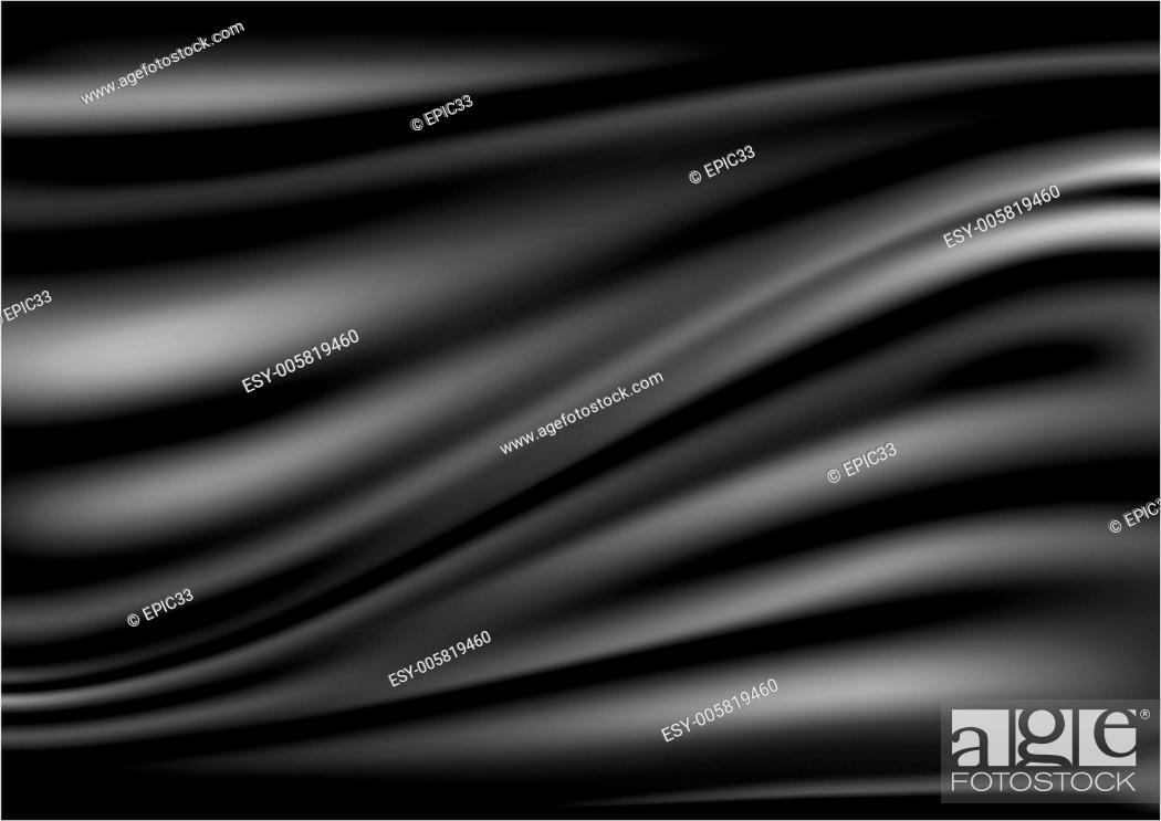 Stock Vector: Black abstract satin curtain background.