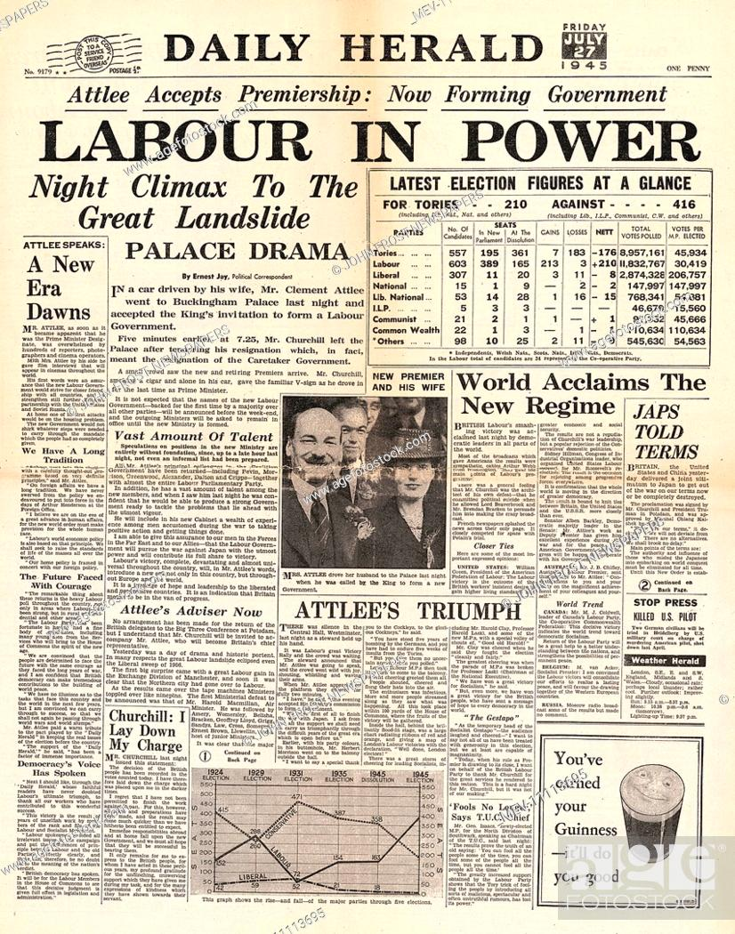 20 Daily Herald front page reporting Clement Attlee and Labour ...