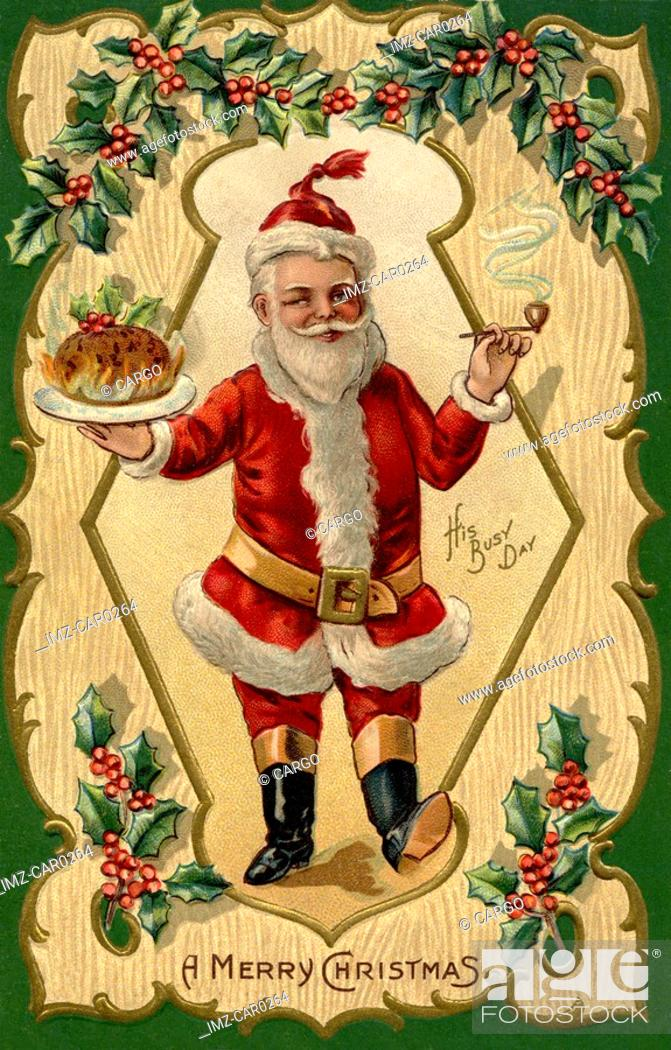 Stock Photo: Santa Claus holding a tray of food in one hand and a pipe in another.