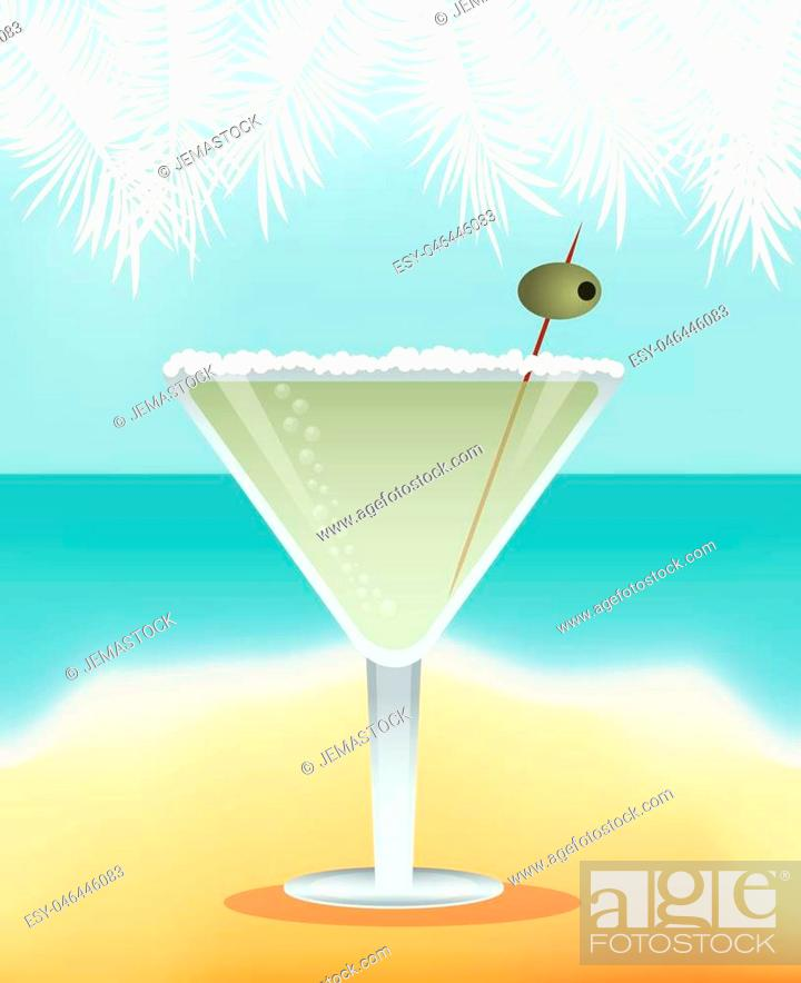 Vector: cocktail martini yellow background vector illustration eps 10.