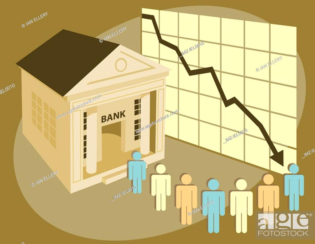 Stock Photo: A graphical illustration of a number of male symbol figures lining outside a bank building with a graph in the background.