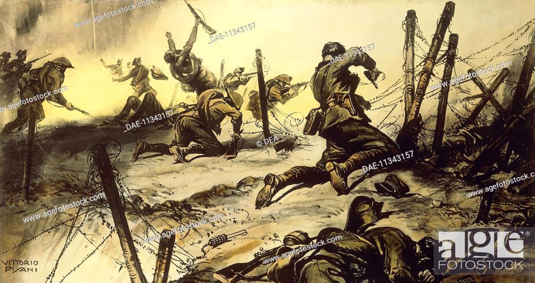 Stock Photo: Battle of Podgora, July 19, 1915, by Vittorio Pisani (1899-1974). World War I, Italy, 20th century.  Rome, Museo Storico Dell'Arma Dei Carabinieri (Military.