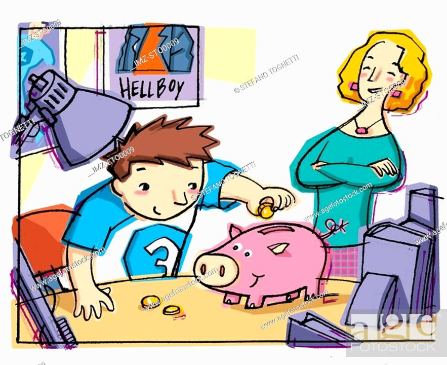 Stock Photo: Proud mother watching boy putting money in piggy bank.