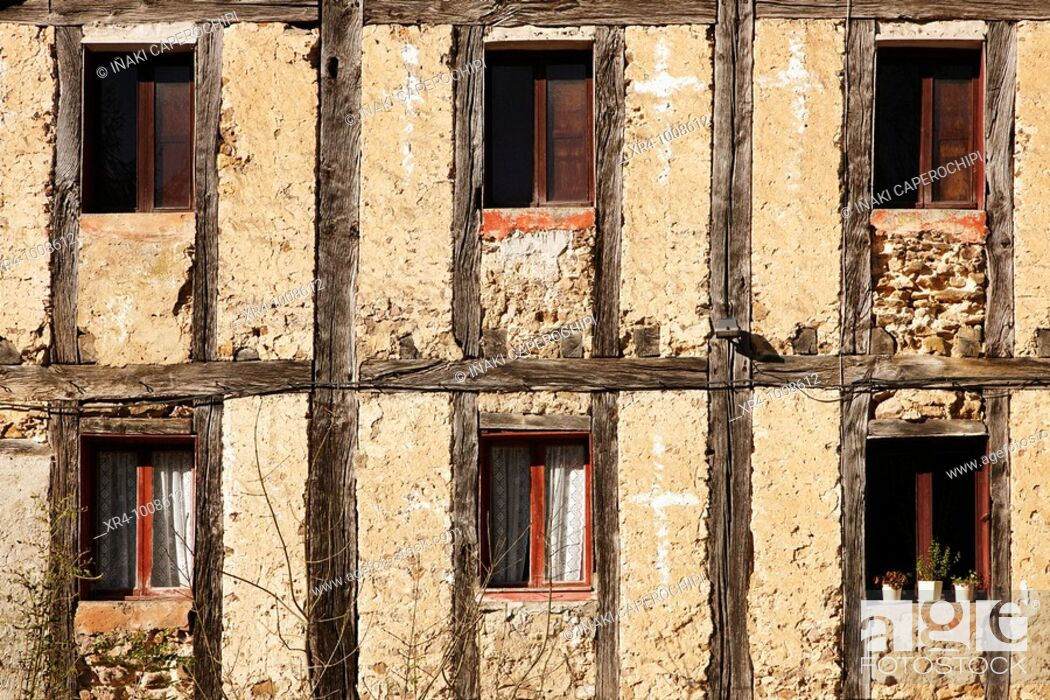 Stock Photo: Windows of the 'venta' of Iturriotz, Aya, Guipuzcoa, Basque Country, Spain.