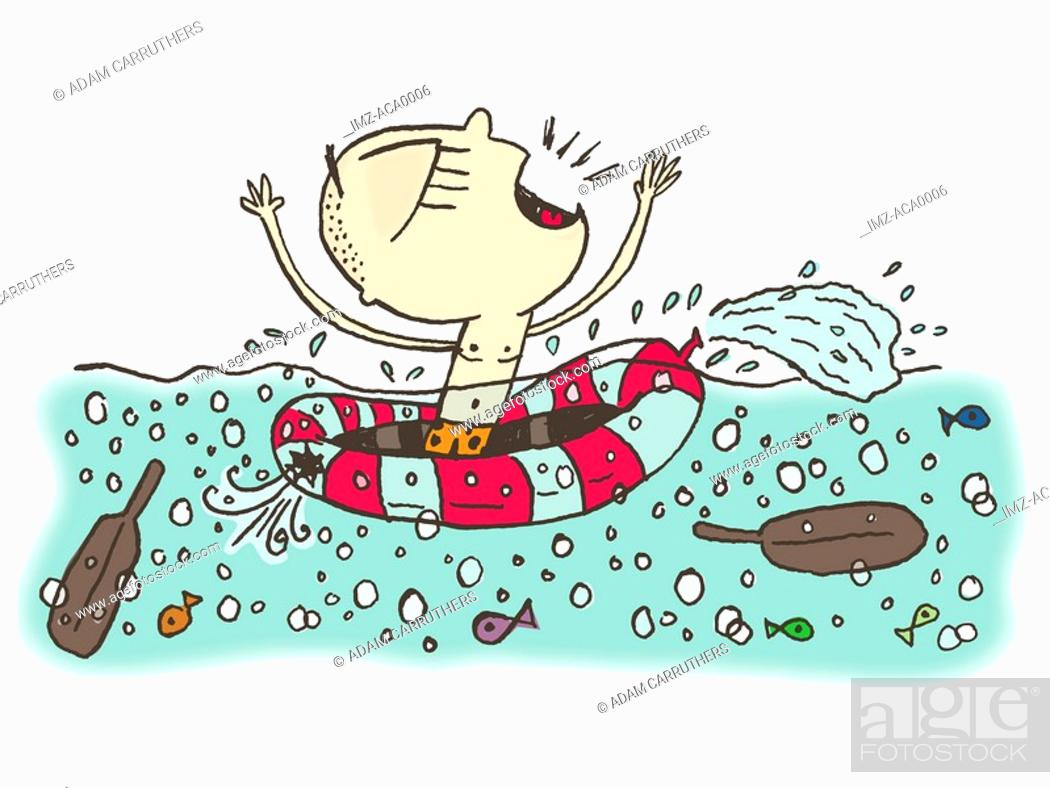 Stock Photo: A helpless man in a sinking dinghy.