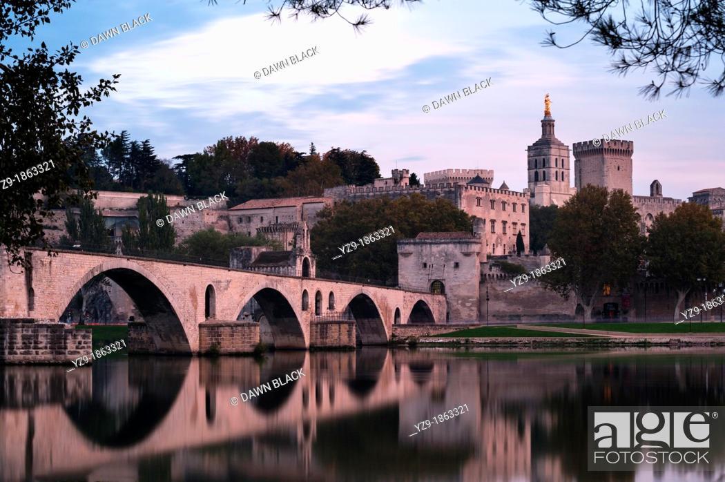 Stock Photo: Palais des Papes and Pont d'Avignon at Dusk, Provence.