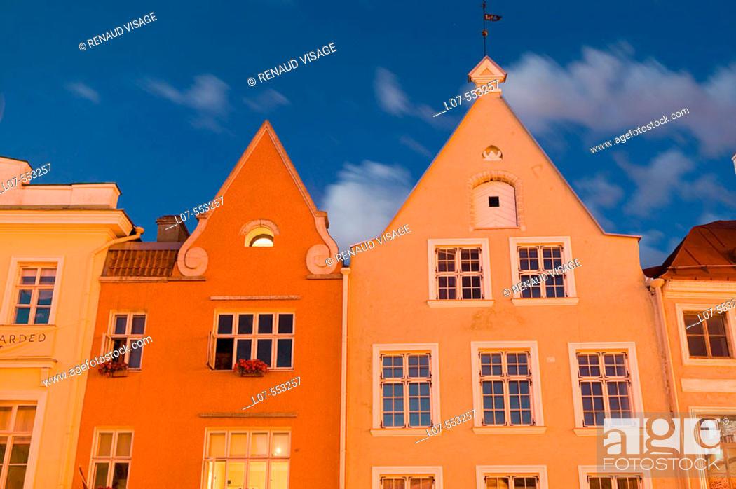 Stock Photo: Typical Estonian architecture buildings on Raekoja main square in Old Town at night. Tallinn. Estonia.