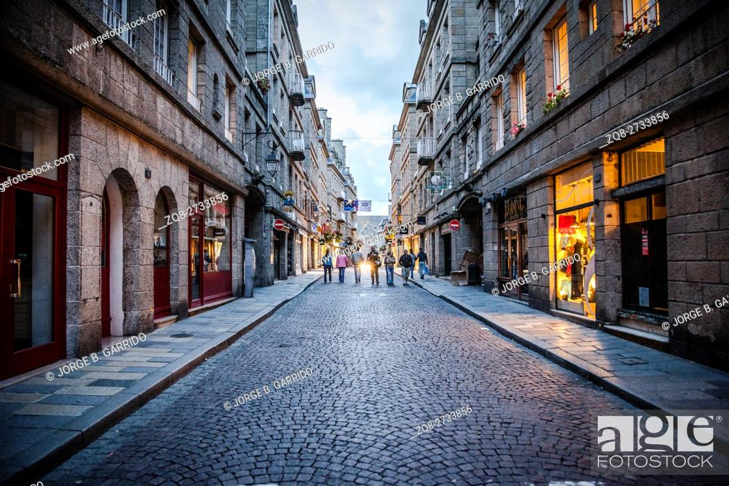 Stock Photo: In the streets of Saint-Malo. Saint Malo is a walled port city in Brittany in northwestern France.