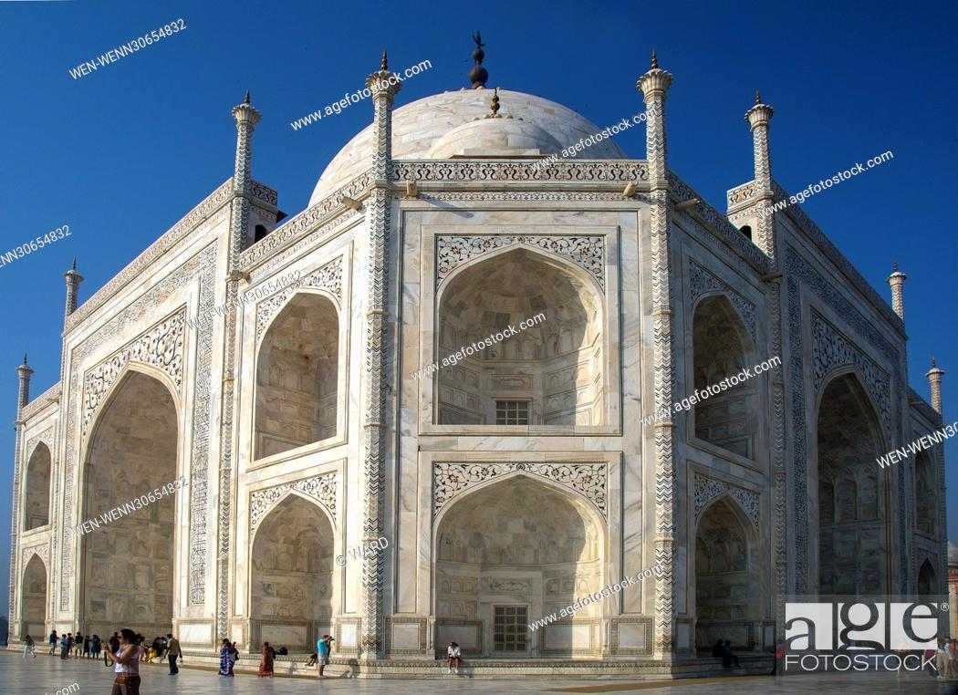 Stock Photo: The Taj Mahal is an ivory-white marble mausoleum on the south bank of the Yamuna river in the Indian city of Agra Featuring: Taj Mahal Where: Agra.