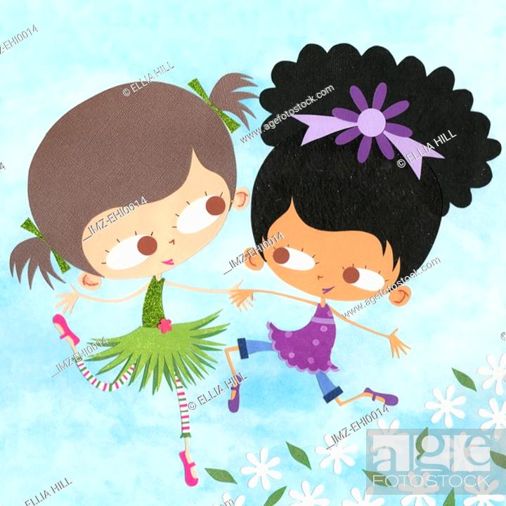 Stock Photo: A paper cut illustration of two girls playing outdoors around flowers.