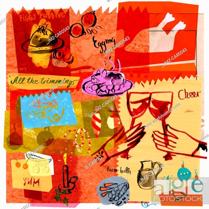 Stock Photo: A collage illustration of a Christmas feast.