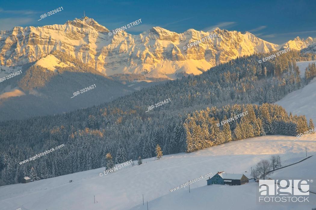 Winter Landscape In Appenzell Region Lit Mt Saentis At Back