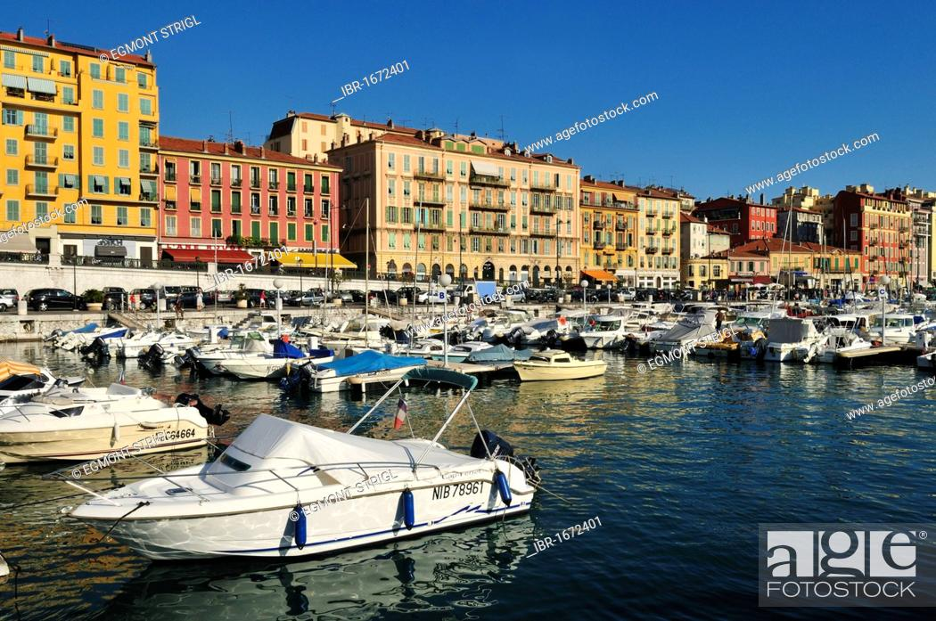 Stock Photo: Boats in the harbour of Nice, Nizza, Cote d'Azur, Alpes Maritimes, Provence, France, Europe.