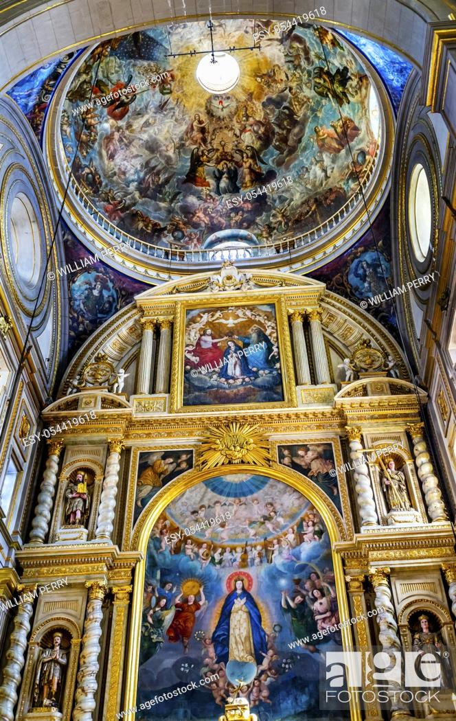 Stock Photo: Basilica Colorful Mary Fresco Dome Altar Cathedral Puebla Mexico. Built in 15 to 1600s.