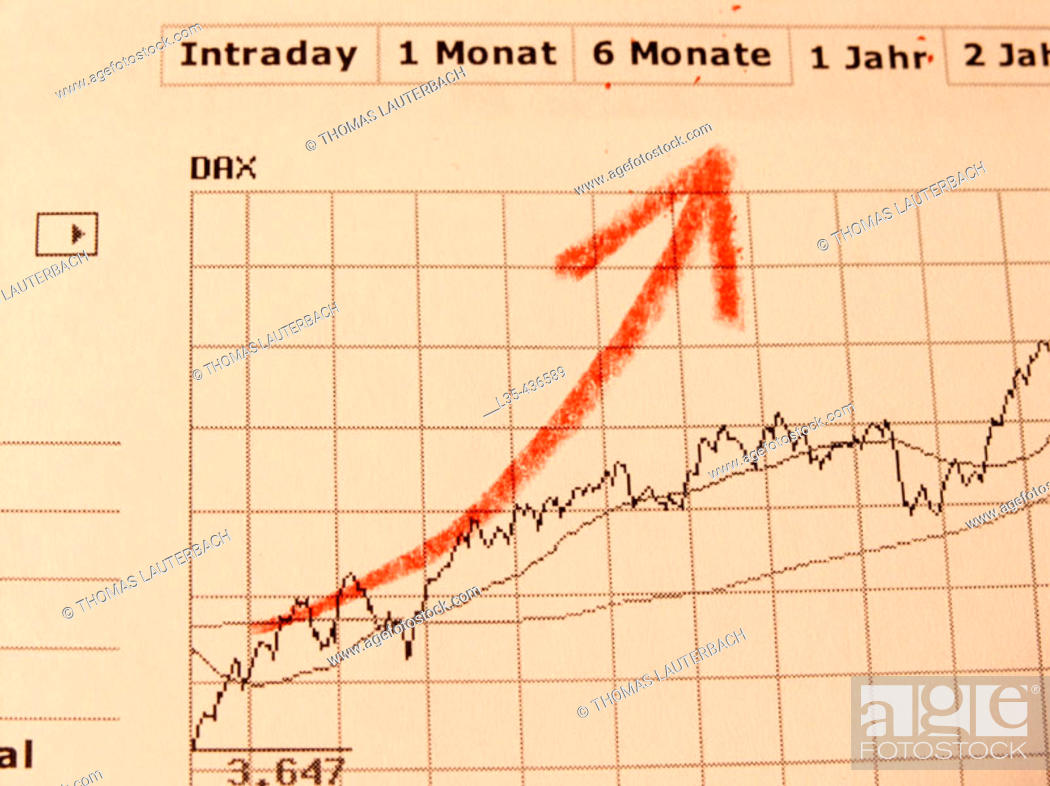 Stock Photo: Dax charts with handpaintet red arrow.