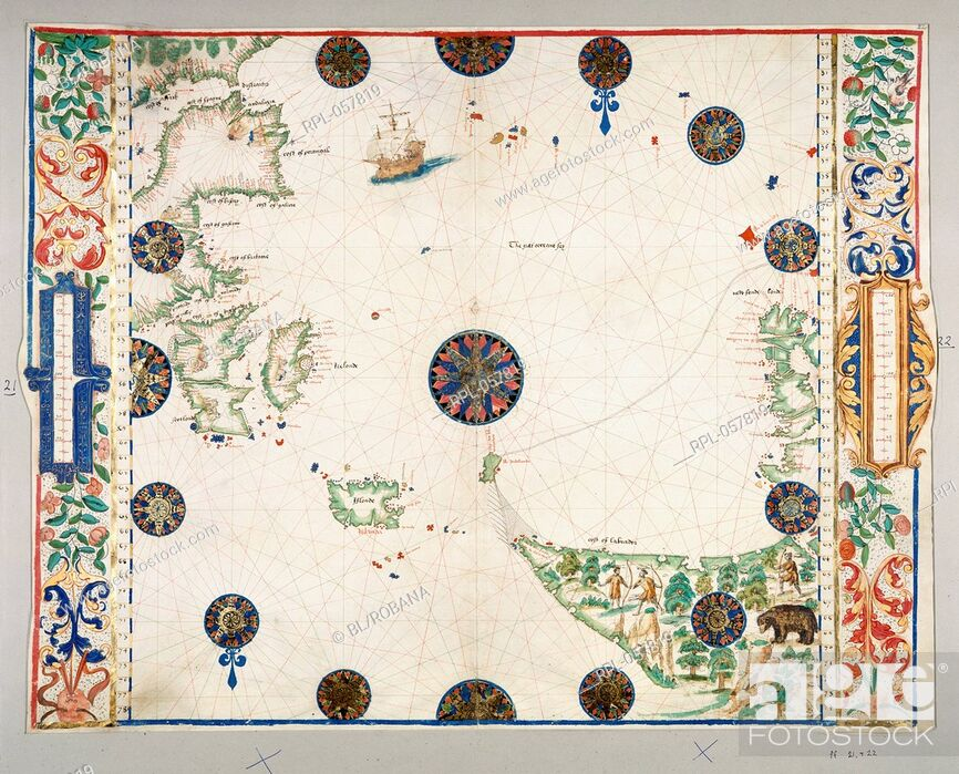 Stock Photo: North Atlantic Ocean Whole map The North Atlantic Ocean from the east coasts of Labrador and Newfoundland to Iceland the British Isles and Spain Image taken.