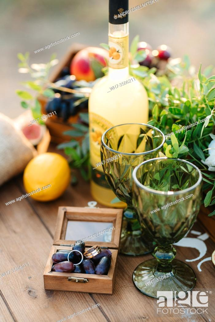 Stock Photo: elegant wedding decorations made of natural flowers and green elements.
