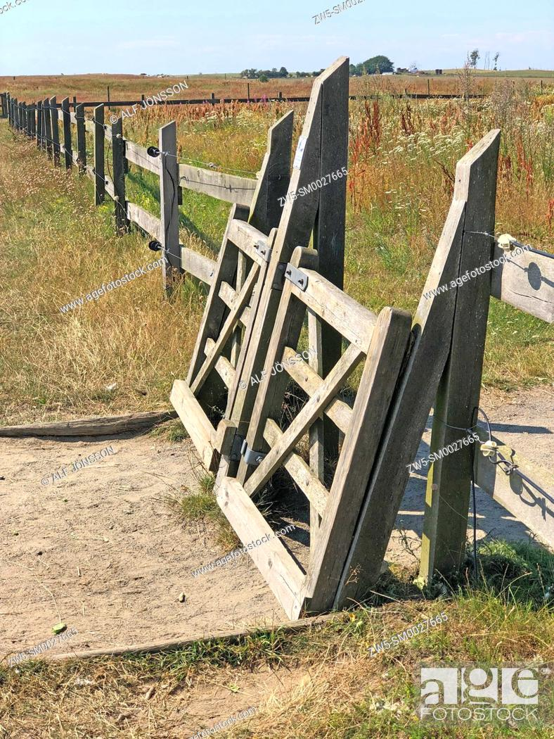 Stock Photo: Fence with self-closing gate at Backåkra, Scania, Sweden.