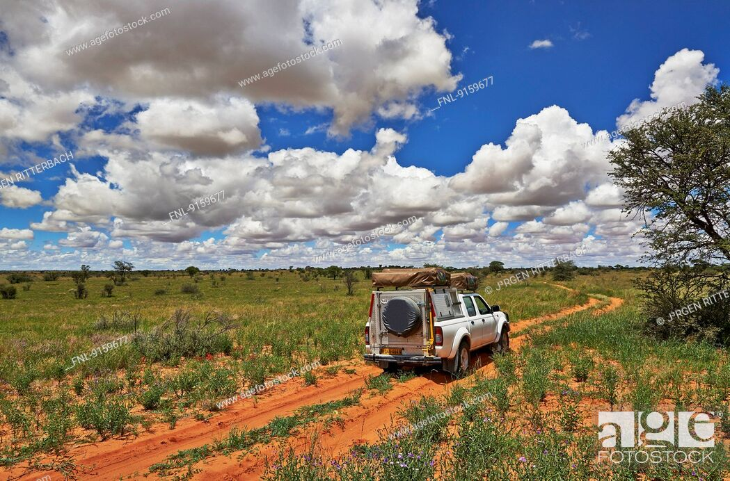 Stock Photo: 4x4 in Kgalagadi Transfrontier Park, Kalahari, South Africa, Botswana.
