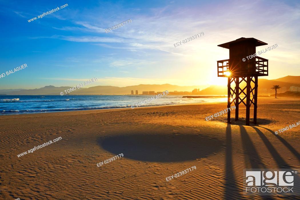 Stock Photo: Cullera Playa los Olivos beach sunset in Mediterranean Valencia at Spain.