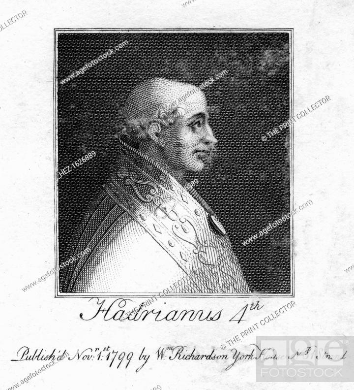 Stock Photo: Pope Adrian IV, (1799). Born Nicholas Breakspear (1100-1159), Adrian IV is the only Englishman to have been Pope. His papacy lasted from 1154-1159.