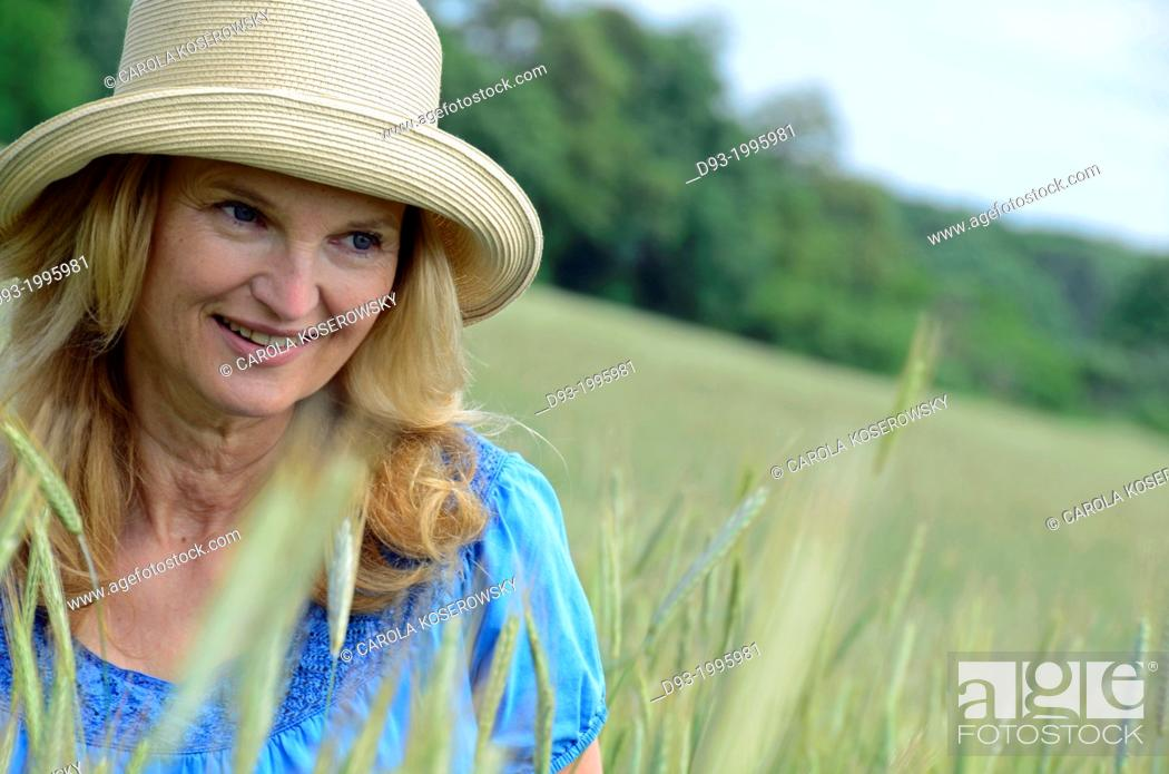 Stock Photo: 50 years old woman portrait, Germany.