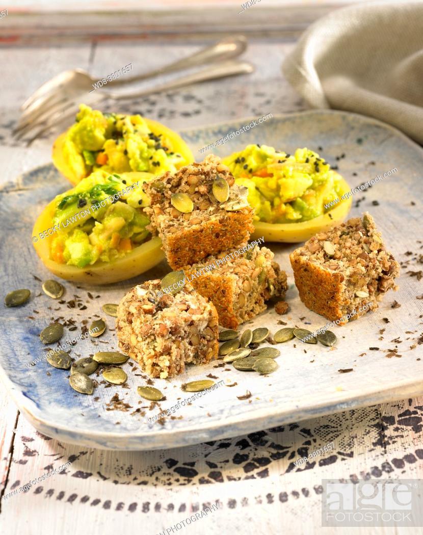 Stock Photo: lentil cake, amaranth, nori seaweed and pumpkin seeds.
