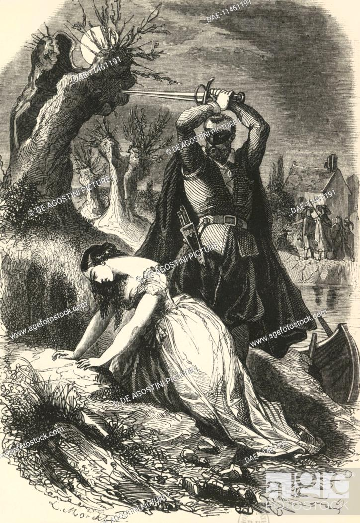 Stock Photo: The execution of Milady, illustration from The Three Musketeers, by Alexandre Dumas (1802-1870). Paris edition, 1849.