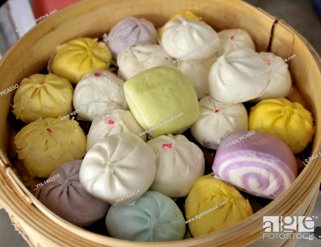 Stock Photo: dumplings and colourful buns, chinese delicacy, chinatown , bangkok, thailand.