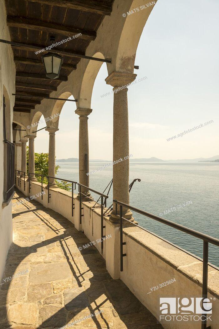 Stock Photo: Eremo di Santa Caterina del Sasso and lake Maggiore in Leggiuno in Lombardy, Italy.