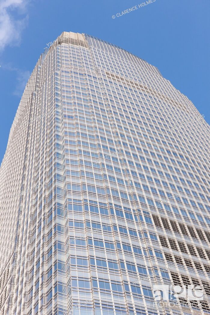 Imagen: A view looking up of 30 Hudson Street / the Goldman Sachs Tower in Jersey City, the tallest building in New Jersey.