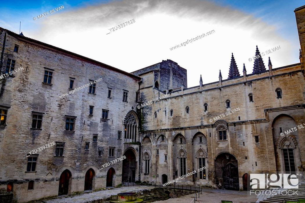 Stock Photo: Palais des Papes in Avignon, France.