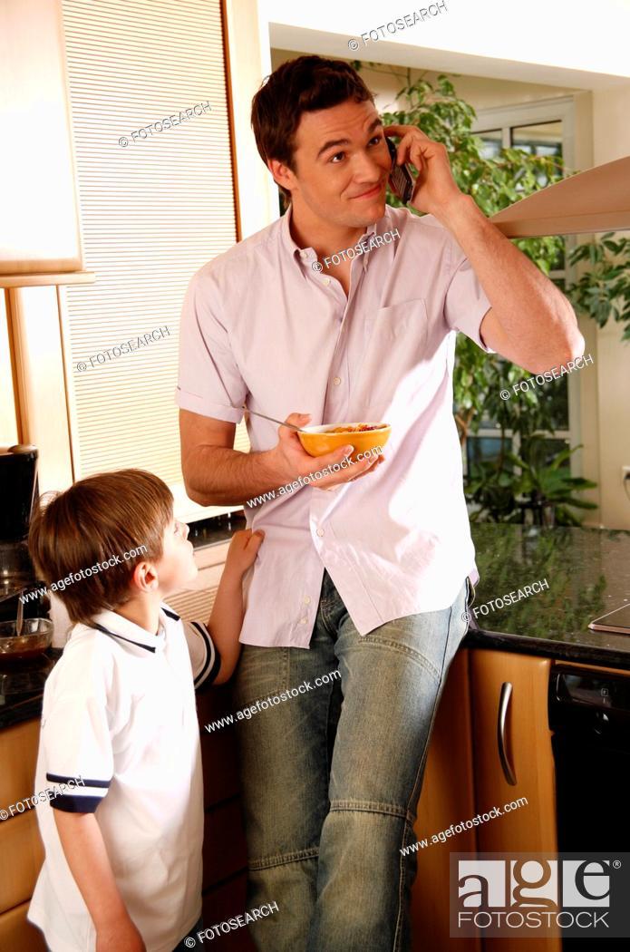 Stock Photo: Man eating his breakfast.