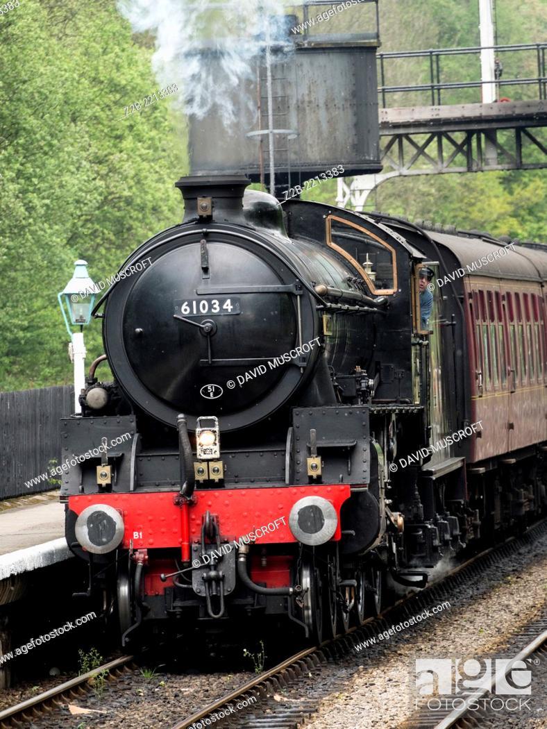 Stock Photo: Vintage steam engine locomotive at Grosmont station, North Yorkshire Moors Railway, on the North Yorkshire Moors, Yorkshire, UK.
