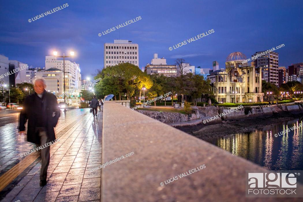 Stock Photo: Atomic Bomb Dome (Gembaku) and Motoyasugawa river from Aioibashi bridge, Peace Park, Hiroshima, Japan.