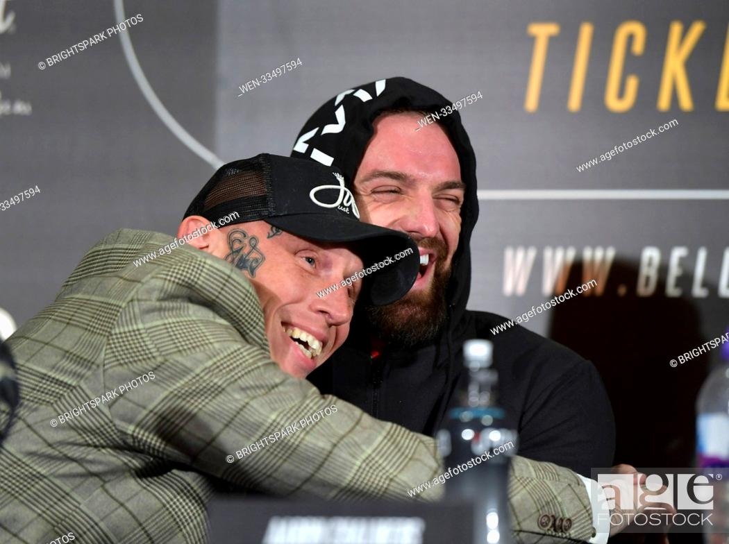 Imagen: Aaron Chalmers and Karl Donaldson speak at a BAMMA Newcastle news conference and weigh in at The Gate ahead of their fight Featuring: Colin Fletcher.