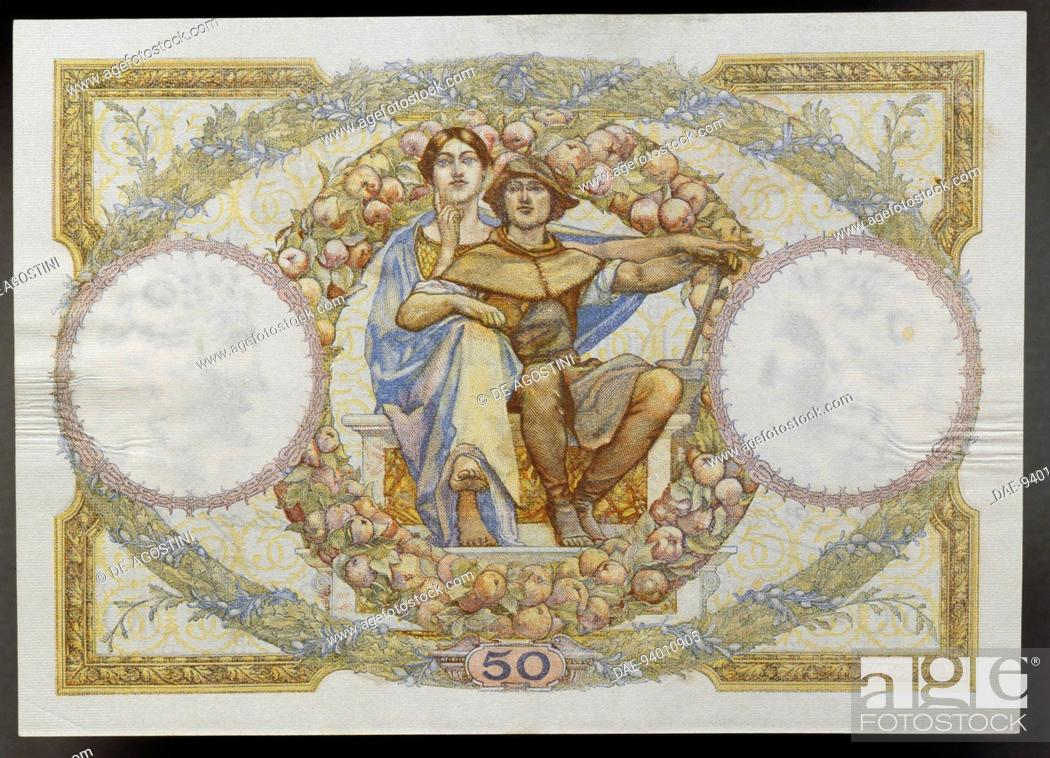 Imagen: 50 francs banknote, 1930, reverse, allegory of science and work. France, 20th century.