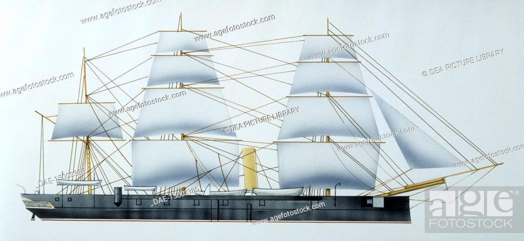 Naval ships - British Royal Navy steam corvette HMS Heroine