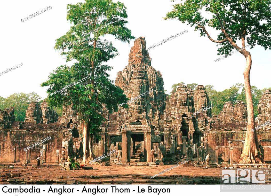 Stock Photo: Cambodia - Angkor - Angkor Thom - Le Bayon.