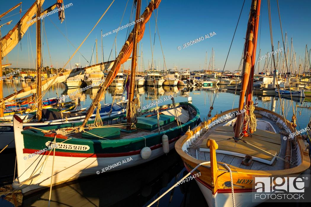 Stock Photo: Fishing boats at fishing port, Marina, old harbour. Village of Bandol. Var department, Provence Alpes Cote d'Azur. French Riviera. Mediterranean Sea.